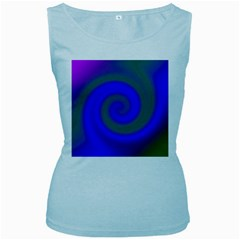 Swirl Green Blue Abstract Women s Baby Blue Tank Top by BrightVibesDesign