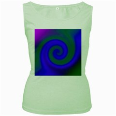 Swirl Green Blue Abstract Women s Green Tank Top