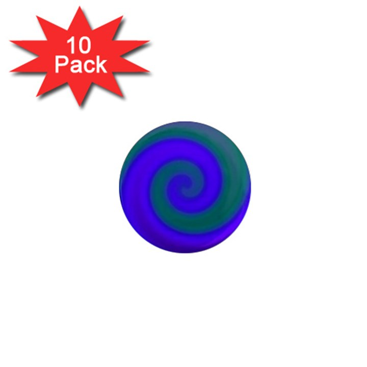 Swirl Green Blue Abstract 1  Mini Magnet (10 pack)