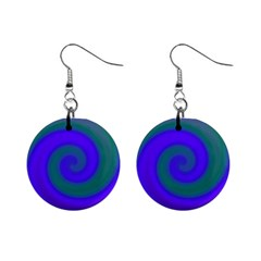 Swirl Green Blue Abstract Mini Button Earrings by BrightVibesDesign