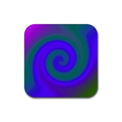 Swirl Green Blue Abstract Rubber Coaster (square)  by BrightVibesDesign