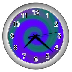 Swirl Green Blue Abstract Wall Clocks (silver)  by BrightVibesDesign