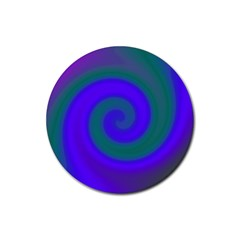 Swirl Green Blue Abstract Rubber Coaster (round)