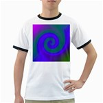 Swirl Green Blue Abstract Ringer T-Shirts Front