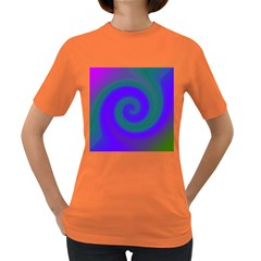 Swirl Green Blue Abstract Women s Dark T Shirt