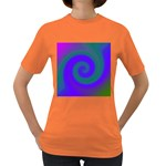 Swirl Green Blue Abstract Women s Dark T-Shirt Front