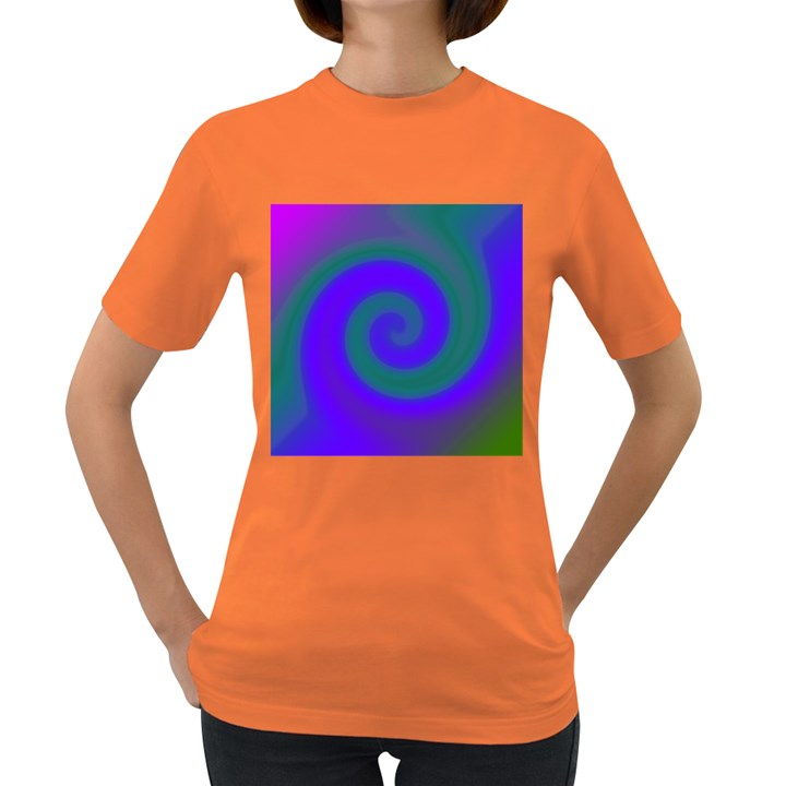 Swirl Green Blue Abstract Women s Dark T-Shirt