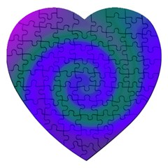 Swirl Green Blue Abstract Jigsaw Puzzle (heart) by BrightVibesDesign