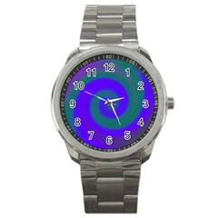Swirl Green Blue Abstract Sport Metal Watch by BrightVibesDesign