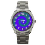 Swirl Green Blue Abstract Sport Metal Watch Front