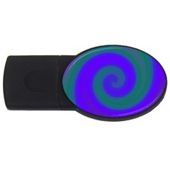 Swirl Green Blue Abstract Usb Flash Drive Oval (4 Gb) by BrightVibesDesign
