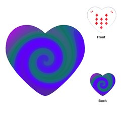 Swirl Green Blue Abstract Playing Cards (heart)