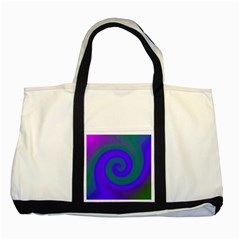 Swirl Green Blue Abstract Two Tone Tote Bag