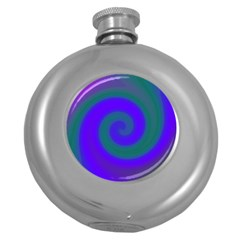 Swirl Green Blue Abstract Round Hip Flask (5 Oz) by BrightVibesDesign