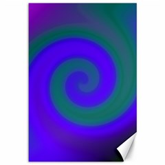 Swirl Green Blue Abstract Canvas 12  X 18   by BrightVibesDesign