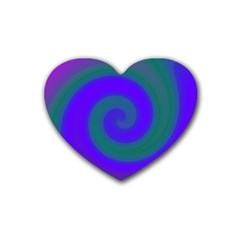 Swirl Green Blue Abstract Heart Coaster (4 Pack)  by BrightVibesDesign