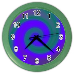 Swirl Green Blue Abstract Color Wall Clocks by BrightVibesDesign