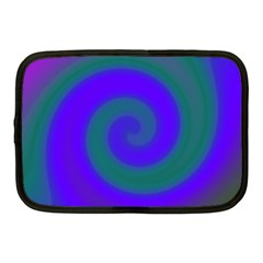 Swirl Green Blue Abstract Netbook Case (medium)  by BrightVibesDesign