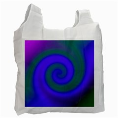 Swirl Green Blue Abstract Recycle Bag (two Side)