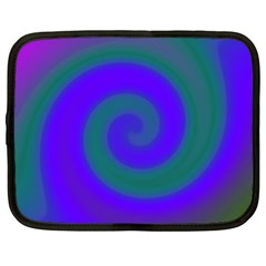 Swirl Green Blue Abstract Netbook Case (xxl)  by BrightVibesDesign