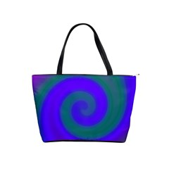 Swirl Green Blue Abstract Shoulder Handbags by BrightVibesDesign