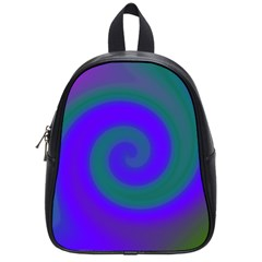 Swirl Green Blue Abstract School Bag (small)