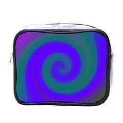 Swirl Green Blue Abstract Mini Toiletries Bags by BrightVibesDesign