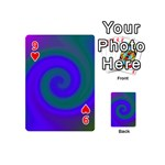 Swirl Green Blue Abstract Playing Cards 54 (Mini)  Front - Heart9