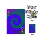 Swirl Green Blue Abstract Playing Cards 54 (Mini)  Front - Spade9