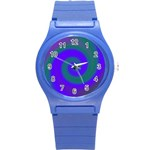 Swirl Green Blue Abstract Round Plastic Sport Watch (S) Front