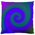 Swirl Green Blue Abstract Large Cushion Case (One Side) Front
