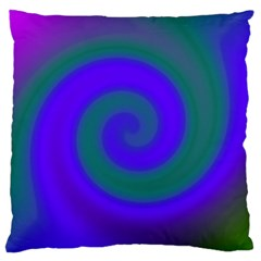 Swirl Green Blue Abstract Large Cushion Case (two Sides) by BrightVibesDesign