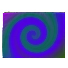 Swirl Green Blue Abstract Cosmetic Bag (xxl)