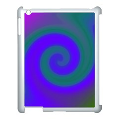 Swirl Green Blue Abstract Apple Ipad 3/4 Case (white) by BrightVibesDesign