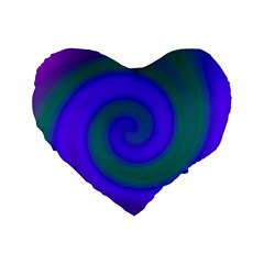 Swirl Green Blue Abstract Standard 16  Premium Heart Shape Cushions by BrightVibesDesign