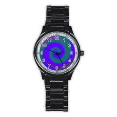 Swirl Green Blue Abstract Stainless Steel Round Watch