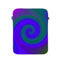 Swirl Green Blue Abstract Apple Ipad 2/3/4 Protective Soft Cases by BrightVibesDesign