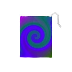 Swirl Green Blue Abstract Drawstring Pouches (small)