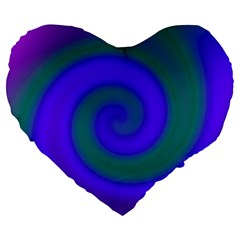Swirl Green Blue Abstract Large 19  Premium Flano Heart Shape Cushions by BrightVibesDesign