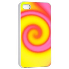 Swirl Yellow Pink Abstract Apple Iphone 4/4s Seamless Case (white) by BrightVibesDesign