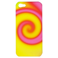 Swirl Yellow Pink Abstract Apple Iphone 5 Hardshell Case by BrightVibesDesign