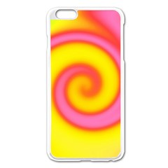 Swirl Yellow Pink Abstract Apple Iphone 6 Plus/6s Plus Enamel White Case by BrightVibesDesign