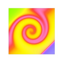 Swirl Yellow Pink Abstract Small Satin Scarf (square)