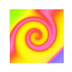 Swirl Yellow Pink Abstract Small Satin Scarf (Square) Front