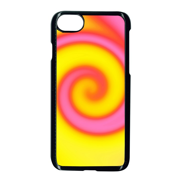 Swirl Yellow Pink Abstract Apple iPhone 8 Seamless Case (Black)