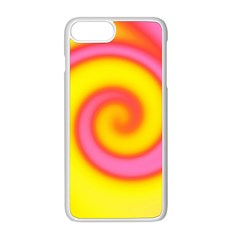 Swirl Yellow Pink Abstract Apple Iphone 8 Plus Seamless Case (white) by BrightVibesDesign