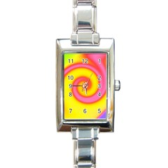 Swirl Yellow Pink Abstract Rectangle Italian Charm Watch