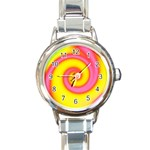 Swirl Yellow Pink Abstract Round Italian Charm Watch Front