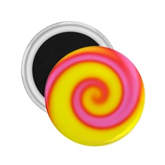 Swirl Yellow Pink Abstract 2 25  Magnets