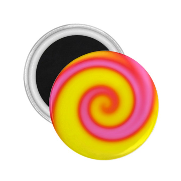 Swirl Yellow Pink Abstract 2.25  Magnets